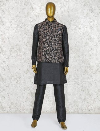 Black printed pattern terry rayon waistcoat set