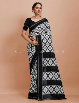 Black printed pure mul cotton saree