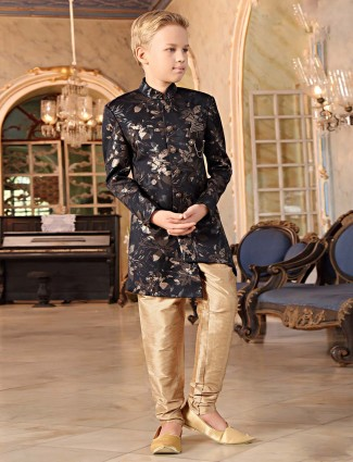 Black printed terry rayon party wear indo western