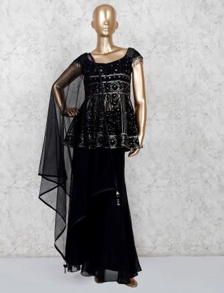 Black punjabi sharara suit in georgette