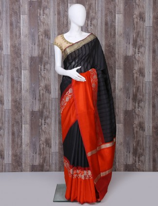 Black pure banarasi silk fabric saree