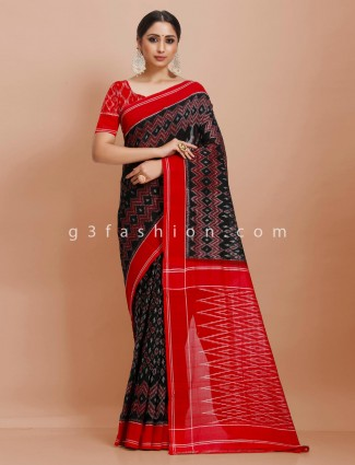 Black pure mul cotton festive wear sari