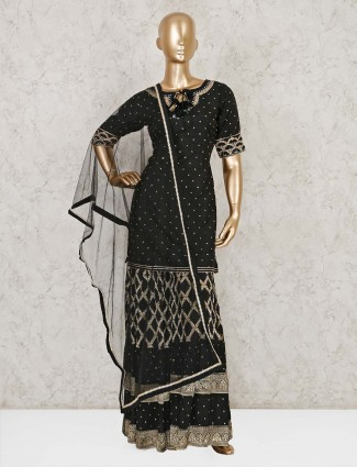 Black raw silk designer punjabi sharara suit