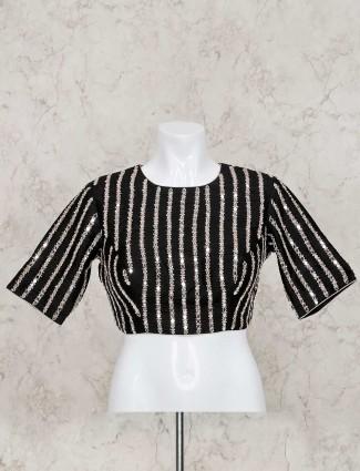 Black raw silk designer ready made blouse