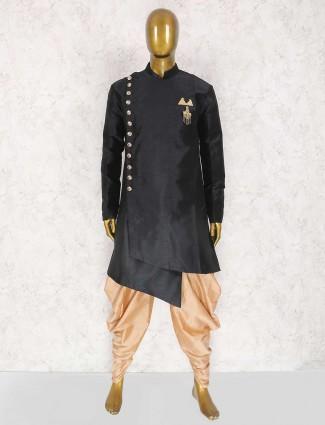 Black raw silk kurta suit for party