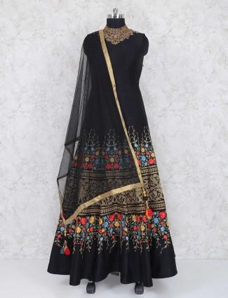 Black raw silk party wear anarkali salwar suit