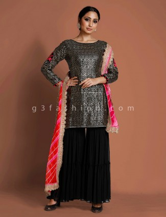 Black raw silk party wear punjabi sharara suit