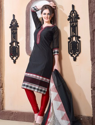 Black ready made cotton silk festive wear salwar suit