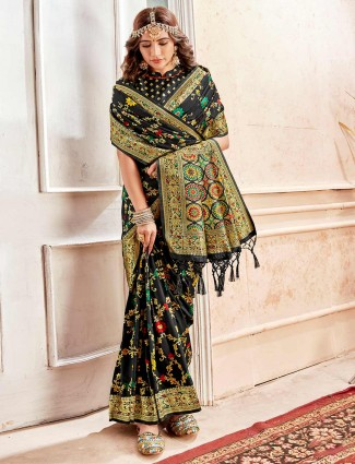 Black reception saree design in banarasi silk