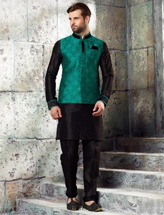 Black red designer raw silk waistcoat set