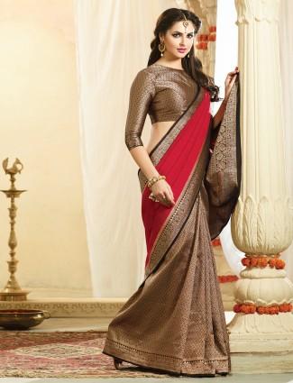 Black red designer wedding bhagalpuri silk saree