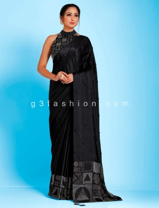 Black satin designer party wear high neck redymade blouse saree