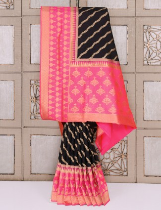 Black semi silk classic saree