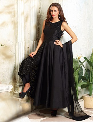 Black silk designer salwar suit