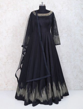 Black silk fabric party wear floor length anarkali suit