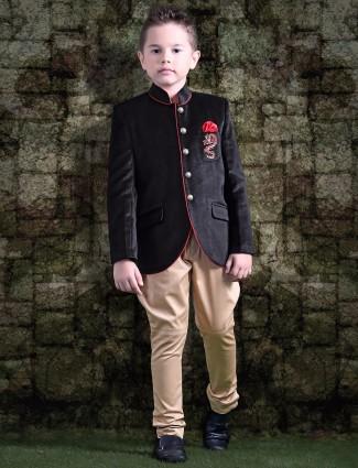 Black silk jodhpuri suit
