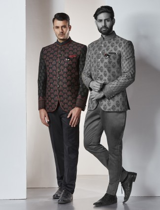 Black silk jodhpuri suit for mens