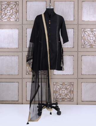 Black silk palazzo suit for festive function