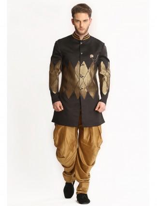 Black silk party wear indo western