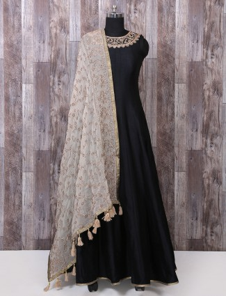 Black silk partywear anarkali suit