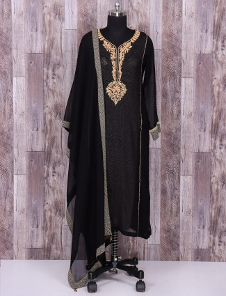 Black silk salwar suit for festive function