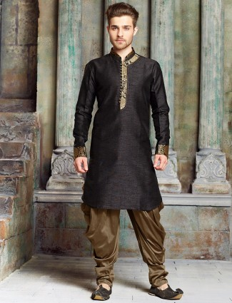 Black silk solid kurta suit