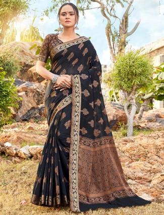 Black soft cotton festive wear saree