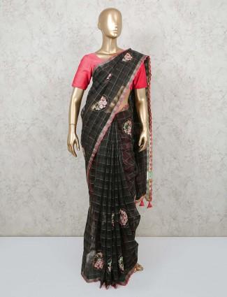 Black soft organza tissue saree for wedding reception