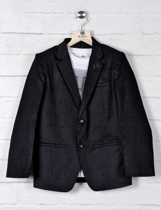 Black solid boys blazer in terry rayon