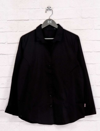 Black solid cotton full sleeves shirt