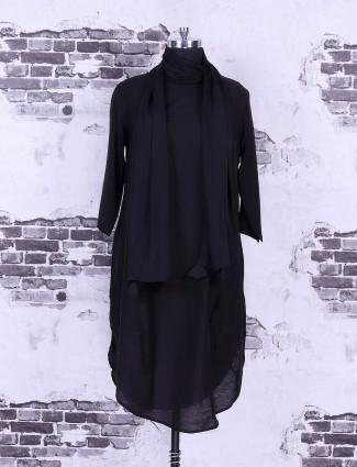 Black solid cotton top