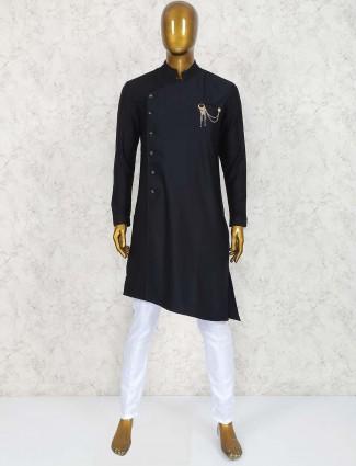 Black solid party wear cotton kurta suit