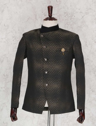 Black solid party wear jodhpuri blazer