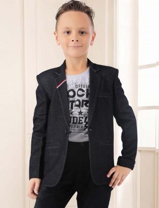 Black solid terry rayon fabric boys blazer