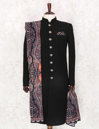 Black solid terry rayon fabric indo western