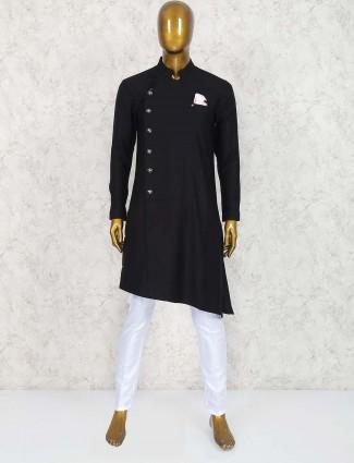 Black solid terry rayon fabric kurta suit