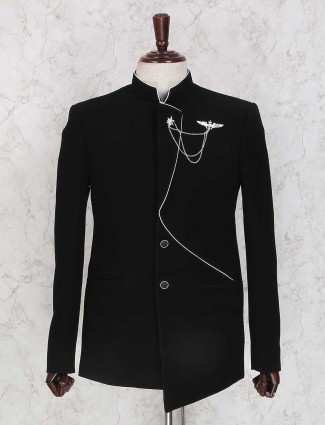 Black solid terry rayon jodhpuri suit