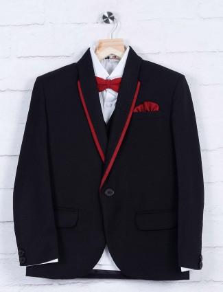 Black solid terry rayon tuxedo suit
