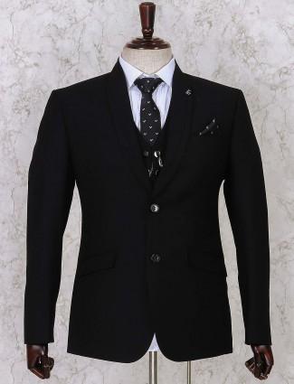 Black solid three piece coat suit