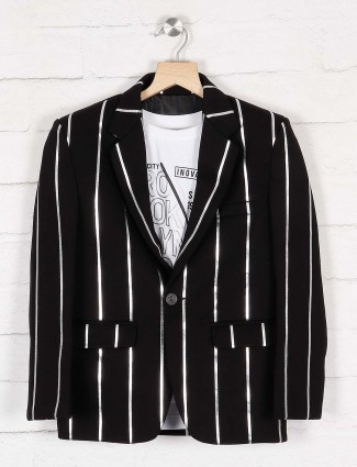 Black stripe terry rayon party wear blazer