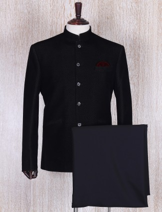 Black stylish terry rayon jodhpuri suit