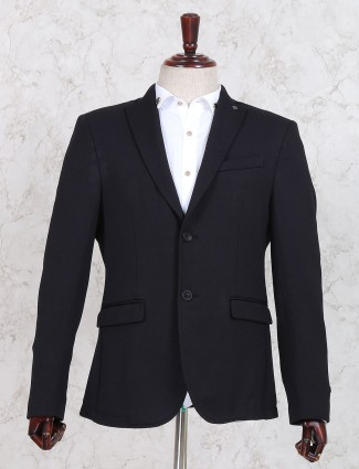 Black terry rayon blazer for mens