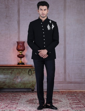 Black terry rayon designer jodhpuri suit with thread work