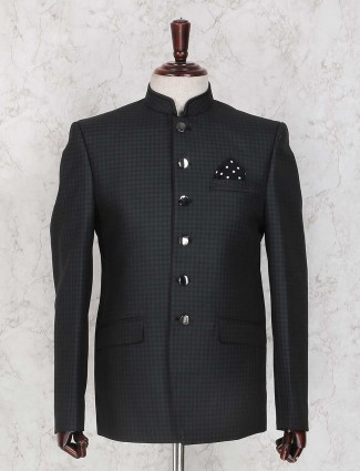Black terry rayon fabric jodhpuri suit