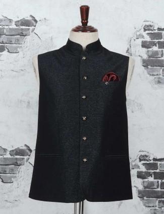 Black terry rayon festive waistcoat
