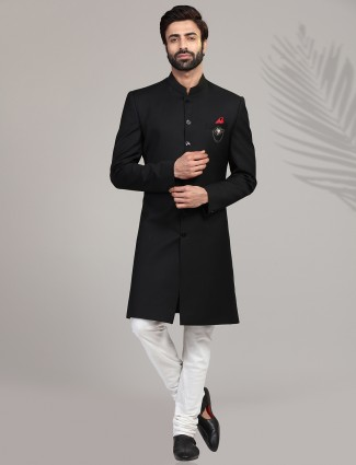 Black terry rayon indo western for mens