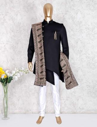 Black terry rayon indo western for wedding season
