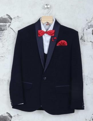 Black terry rayon party wear boys coat suit