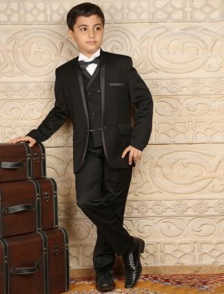 Black terry rayon plain boys coat suit