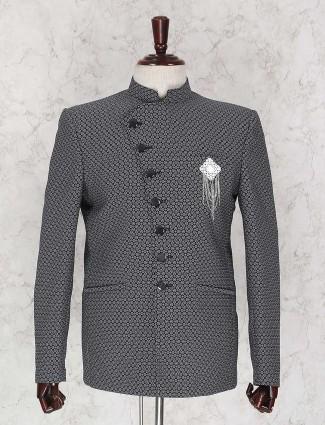 Black texture print jodhpuri suit